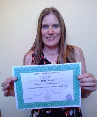 Mary with certificate