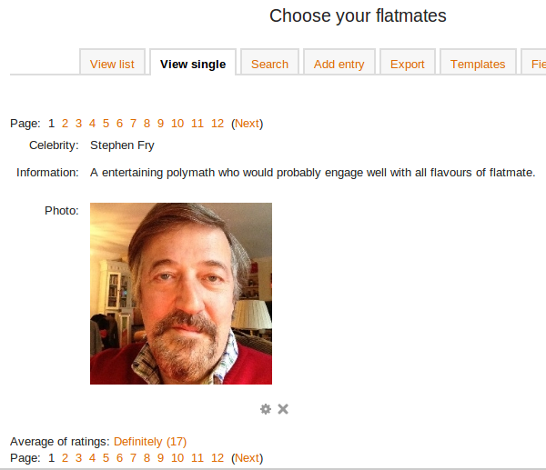 Stephen Fry in a rated Moodle database